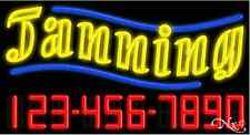 "NEW ""TANNING"" w/YOUR PHONE NUMBER 37x20 NEON SIGN W/CUSTOM OPTIONS 15106"