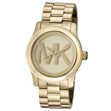 New Michael Kors Runway Gold Stainless Steel Logo MK5473 Women's 45mm Watch