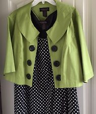 SIGNATURE By ROBBIE BEE Black White Polka Dot Dress Lime Green Short Jacket 20w