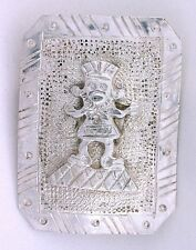 VINTAGE OLD ANTIQUE FERTILITY GOD PRE COLUMBIAN  PIN .900 SILVER PERU HANDMADE