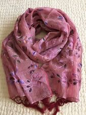 Brand NEW~100% Silk~Shawl/ Wrap/ Scarf~Made in India~Hand Embroidered/Painted!