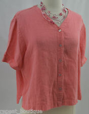 Eileen Fisher linen crop top boho short sleeve Blouse shirt coral v Size M VTG
