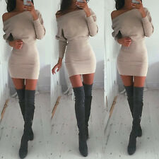 Sexy Women Winter Off Shoulder Jumper Sweater Tops Bodycon Shirt Slim Mini Dress