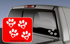 DOG CAT PET PAW LOVE PRINTS with Heart GROUP OF 4 Vinyl Car Decals Stickers