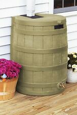 New 50 Gallon Rain Barrel Plastic Rain Water Collection Storage System Tan