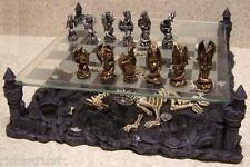 Chess Set with Glass Board Themed Polyresin Platform Pewter Mythical Dragons NIB