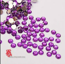 DIY 800pcs 4mm Facets Resin Rhinestone Gems Flat Back Crystal beads Purple []2