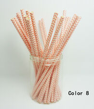 25 PCS Chevron Striped Paper Drinking Straws For Wedding Birthday Party Color 8