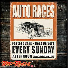 Metal Tin Wall Signs Classic Hot Rod Garage Auto Races Vintage Advertising UK