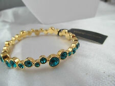 NWT 10021 KARA ROSS GOLD & BLUE CRYSTAL BANGLE BRACELET, Signed, MSRP $75