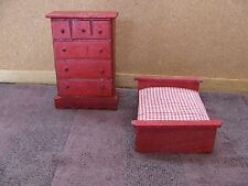 Dollhouse Mini Bedroom Furniture Dresser & Bed  ~Made Out Of Wood~