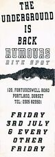 RUMOURS Rave Flyer Flyers Year Unknown A4 Rumours Portland Dorset