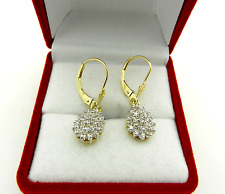 0.50tcw DIAMOND PEAR Shape  DANGLE DROP Earrings 14K Yellow Gold Leverback
