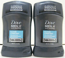 Lot of 2 Dove Men +Care Clean Comfort Antiperspirant Deodorant 1.7 oz 48g Solid