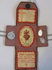 Vtg brown leather pocket protection prayer shrine medal scapular crucifix French