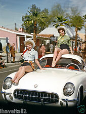 1953 Corvette parade car with two sexy cowgirls atop the car 8 x 10 Photograph