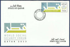 STATE OF QATAR 2013 MNH FDC FIRST DAY COVER ISSA WORLD SOCIAL SECURITY FORUM