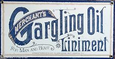 Merchants Gargling Oil Liniment Sign Advertising Remedies,Cures,Mancave,Pharmacy