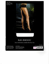 1278 LEG AVENUE FENCE NET PANTYHOSE WITH BOY SHORT LACE TOP SIZE 90-160 LBS