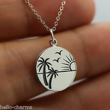 BEACH NECKLACE - 925 Sterling Silver - Ocean Charm Beach Sand Waves Palm Tree