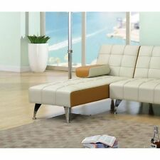 ACME Furniture Lytton Faux Leather Chaise Lounge in Beige and Brown