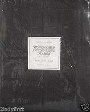 "2 Restoration Hardware STONEWASHED COTTON LINEN Pocket Drapes~50x120"" ~ CHARCOAL"