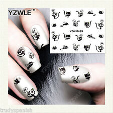 Nail Art Water Decals Transfers Halloween Boo Black Kitty Cats Gel Polish 8499
