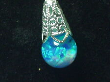 FIERY BLUE GREEN KYOCERA OPALS SNOW GLOBE FLOATING OPAL PENDANT