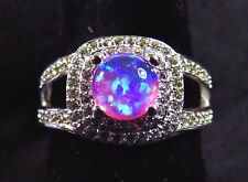 Sterling 925 Silver SF Size 8 Ring 6mm Pink Lab Fire Opal Cabochon & White Topaz