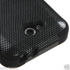 LG OPTIMUS L90 D415 TMOBILE METRO HYBRID T ARMOR CASE SKIN CARBON FIBER LOOK