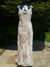 Monsoon Sexy Coffee/Beige DEVORE Silk Maxi Dress 10 Wedding Prom Cruise