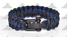 Deluxe Paracord Survival Bracelet Blue Line Tracers and Adjustable Shackle