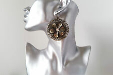 Gorgeous large antique gold tone & diamante flower patterned disc drop earrings
