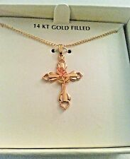 """New Women's 14k Gold Cross (Painted Rose) Pendant  Necklace 18"""" FREE SHIPPING!"""