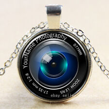 camera lens Cabochon Silver plated Glass Chain Pendant Necklace new