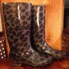 Coach Pixy Leopard Print Purple Black Signature Rain Snow Boots Size 8 EUC