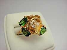 Estate 14k Solid Yellow Gold Green Tourmaline & White Topaz Floral Freeform Ring