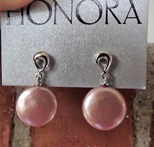 NEW  HONORA CULTURED FRESHWATER COIN PEARL STERLING SILVER EARRINGS ROSE  14MM