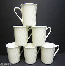 Set Of 6 White Spiral Shape Fine Bone China Mug cups Beakers