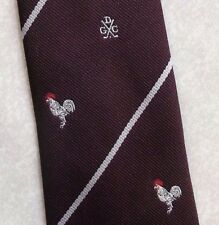 DGC GOLF CLUB TIE VINTAGE RETRO GOLFING COCKEREL 1980s 1990s BURGUNDY STRIPED