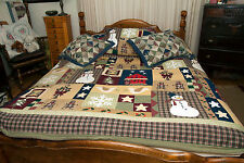 "Vtg? Holiday Patchwork Quilt Queen Christmas Bedspread 104"" x 86"" With 3 Shams"