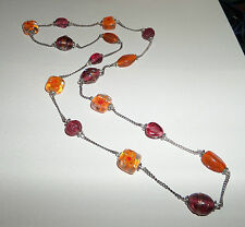 "HANDMADE 36"" LONG ORANGE LAMPWORK GLASS BEAD AND CHAIN NECKLACE BD"