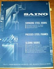 SAINO Manufacturing Co. ASBESTOS Fire Door Catalog 1970