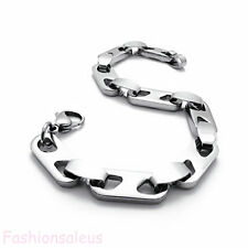"""Polished Stainless Steel Men's Boy's Silver Link Bracelet 8.5"""" Chain Fashion"""