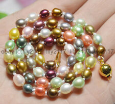 """AA Natural 6-7mm Multicolored Genuine Freshwater cultured Pearl Necklaces 18"""""""