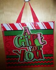 """2-HOLIDAY """"A GIFT FOR YOU"""" LARGE 19"""" TOTE BAGS ~FESTIVE~DURABLE ~NEW ~NICE ~LQQK"""
