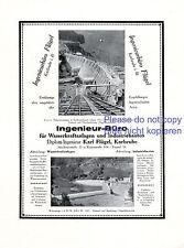 Ingenieur Büro Flügel Karlsruhe Reklame 1926 Wasserkraft Staudamm Bräunlingen +