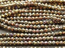 "2.1mm MICRO FACETED COATED BLACK SPINEL - GOLD & BRONZE, 13"", 170 beads"