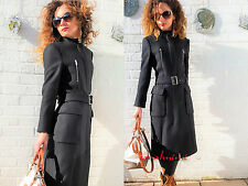 ZARA NEW FUNNEL COLLAR WOOL COAT WITH ZIPS AND BELT SIZE Xs