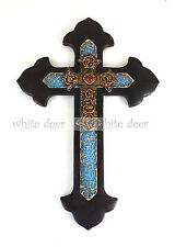 Western Style Wall Cross Ruby Floral Carving Turquoise Broken Glass Texture